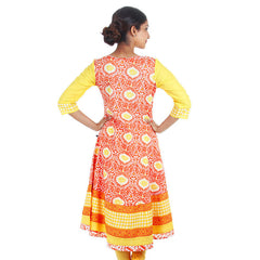 Sun Orange Wide Flare Anarkali Kurta From eSTYLe