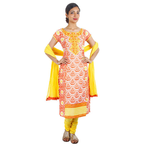 3Pce Suit - eSTYLe Cream Orange Printed Kurta With Embroidered Yoke, Chudi and Cotton Dupatta