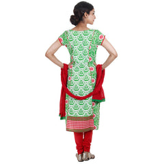 3Pce Suit - Green Printed Kurta With Embroidered Yoke, Chudi and Cotton Dupatta