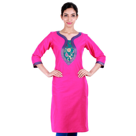 eSTYLe Blaze Magenta Cotton Kurta Enhanced With Brocade Zari Yoke