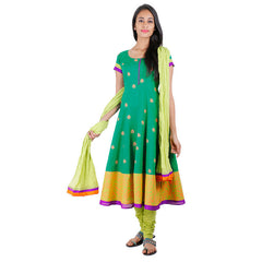 Bosphorus Green Cotton Wide Flare Anarkali 3Pce Set With Chudi and Dupatta