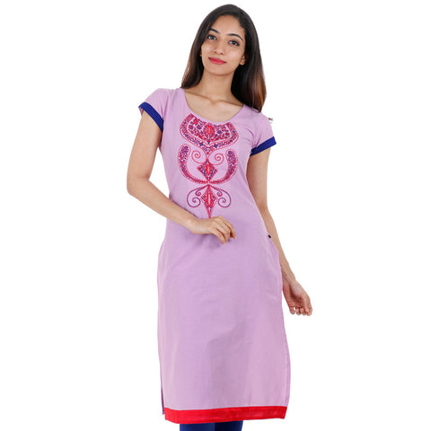 Lilac eSTYLe Cotton Kurta With Extensive Embroidery Work