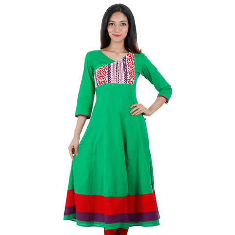 Green Splash Anarkali With Semi Printed Yoke From eSTYLe