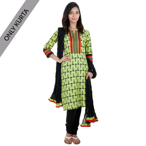 Shadow Lime Cotton Printed Kurta With Embroidered Yoke