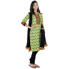 3Pce Suit - Shadow Lime Cotton Printed Kurta With Embroidered Yoke, Chudi and Cotton Dupatta