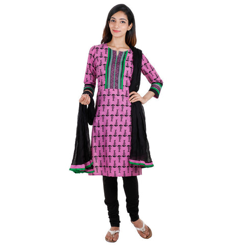 3Pce Suit - Cyclamen Cotton Printed Kurta With Embroidered Yoke, Chudi and Cotton Dupatta