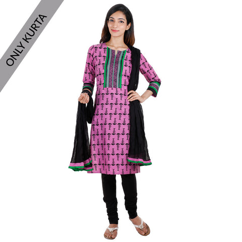 Cyclamen Cotton Printed Kurta With Embroidered Yoke