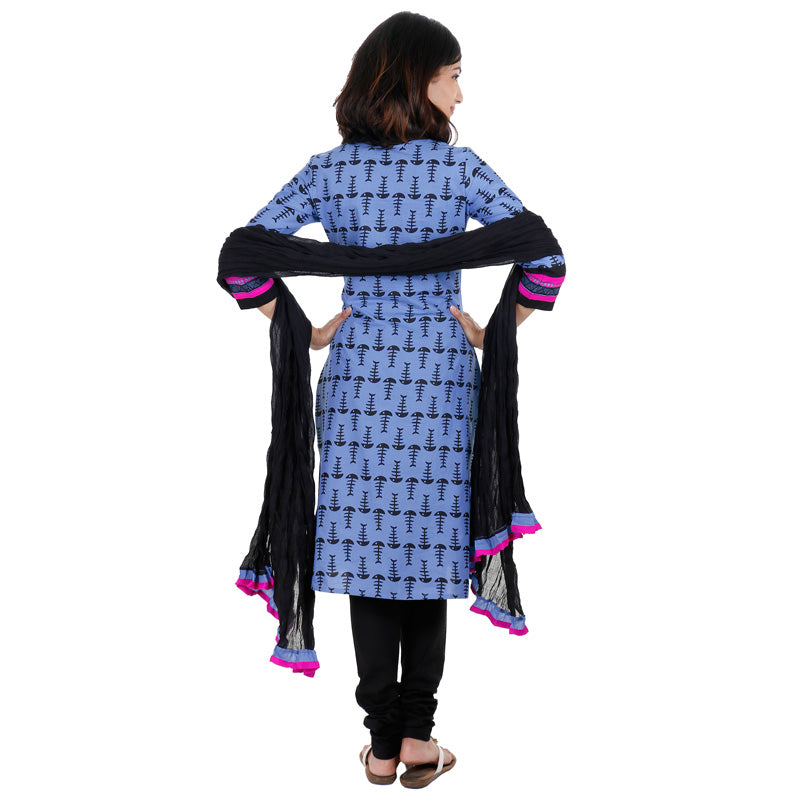 Blue Cotton Printed Kurta With Embroidered Yoke