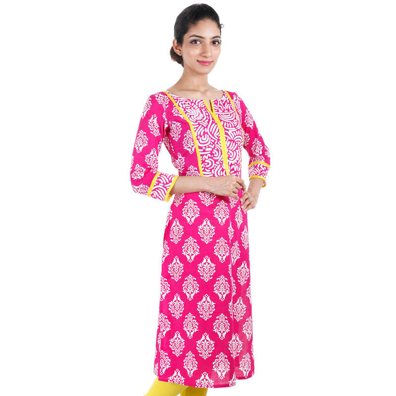 Raspberry Sorbet eSTYLe Printed Cotton Kurta