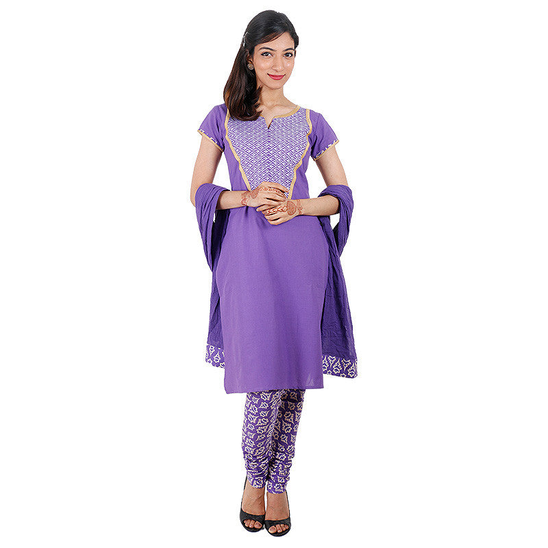 3Pce Suit - Lavender Splash Kurta, Printed Chudi and Cotton Dupatta