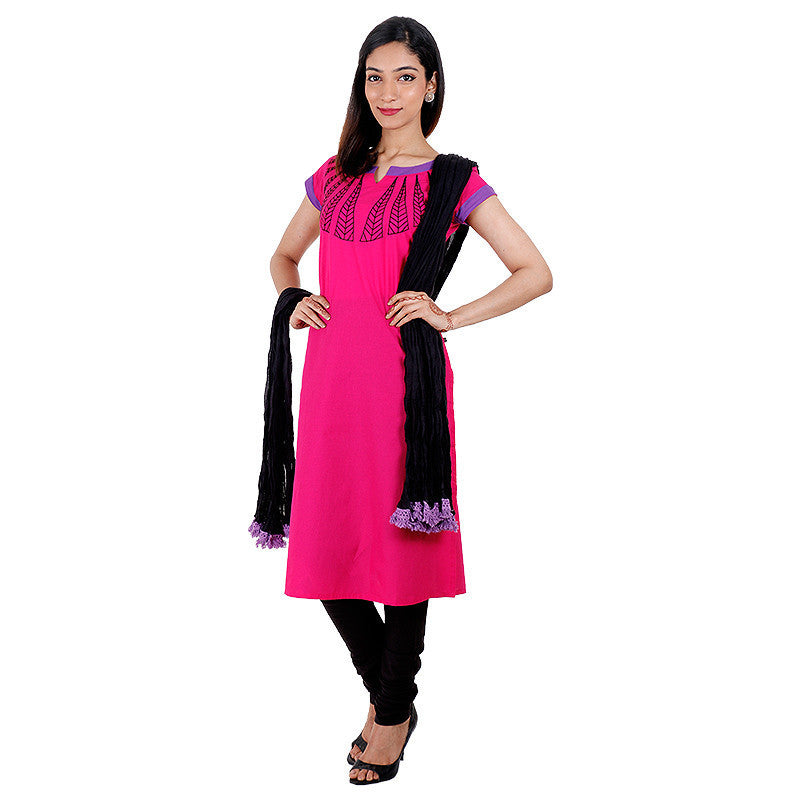 3Pce Suit - eSTYLe Pink Flambe Cotton Kurta With Embroidered Yoke, Chudi and Cotton Dupatta
