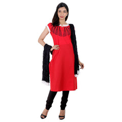 3Pce Suit - Cranberry Red Kurta With Embroidered Yoke, Chudi and Cotton Dupatta