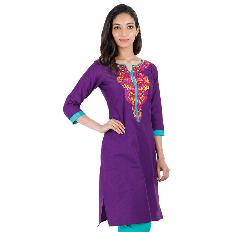Prism Violet eSTYLe Cotton Kurta With Embroidered Yoke