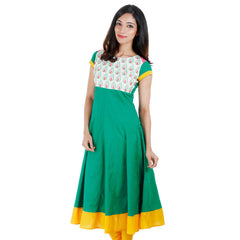 Embroidered Weed Green Anarkali Kurta With Wide Flare From eSTYLe