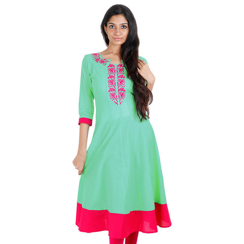 Apple Green Anarkali Kurta With Wide Flare From eSTYLe