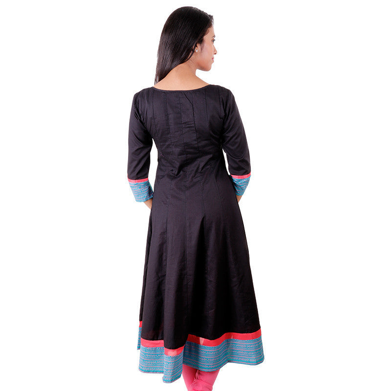 eSTYLe Spectra Black 'N Pink Cotton Wide Flare Anarkali
