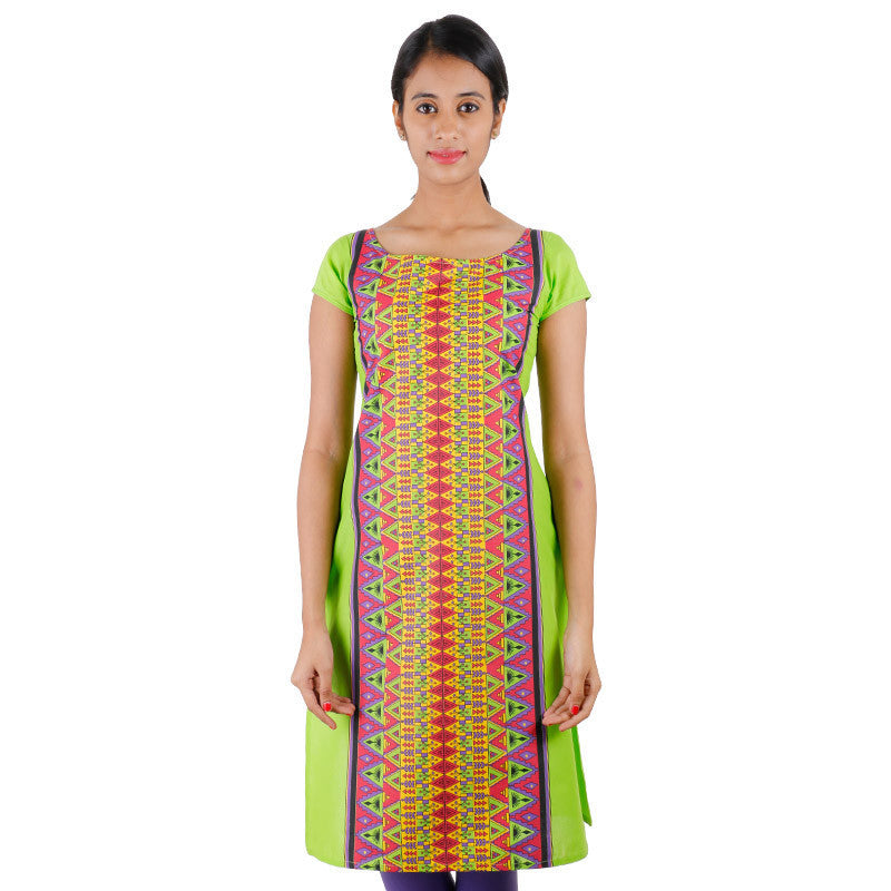 Green Flash Casula Cotton Kurta With Hand Block Prints From eSTYLe