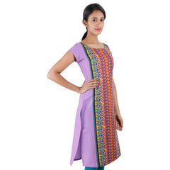 Lavender Printed eSTYLe Casual Cotton Kurta