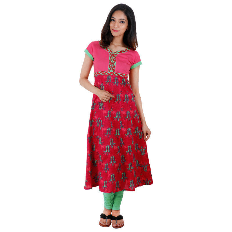 eSTYLe Pink 'N Green Anarkali Kurta With Embroidered Yoke