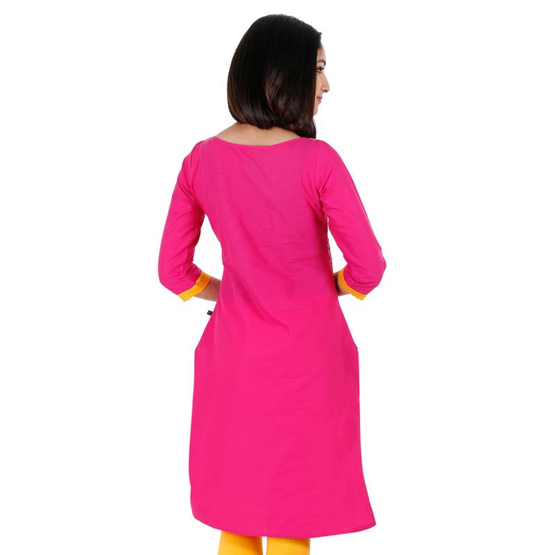 eSTYLe Casual Cotton Raspberry Rose Kurta With Embroidered Yoke