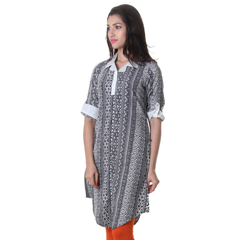 Black 'N White Printed Kurta With Fold Up Sleeve.