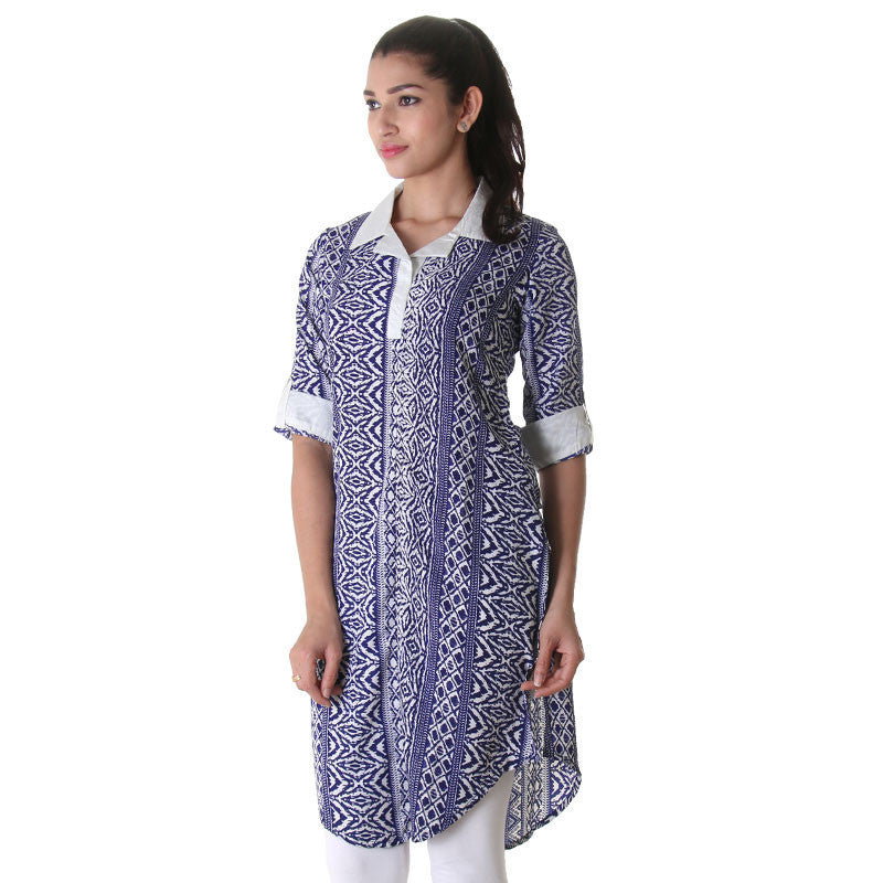 Blue 'N White Printed Kurta With Fold Up Sleeve.