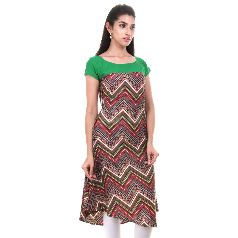Zig-Zag Maroon Printed Kurta With Contrast Green Yoke