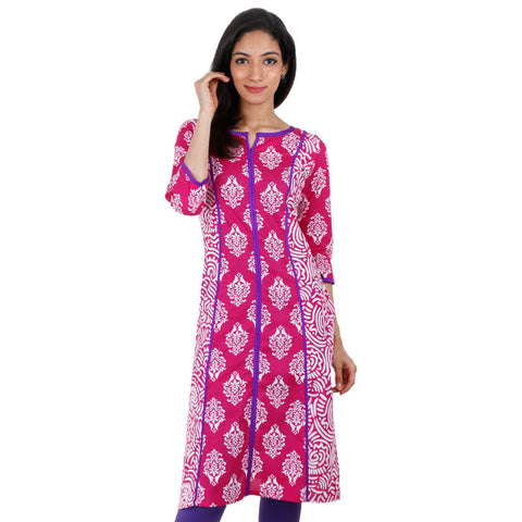 Printed Paradise Pink Cotton Kurta With Purple Piping From eSTYLe