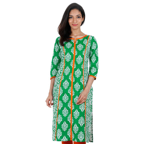 eSTYLe Fresh Green Printed Kurta With Orange Piping