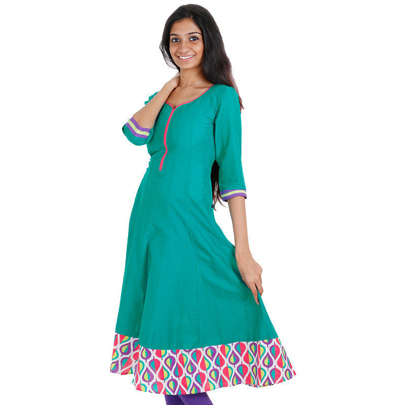 eSTYLe Tropical Green Anarkali Kurta With Wide Flare