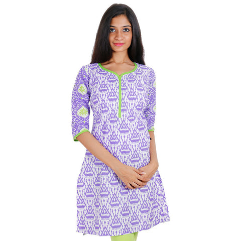 eSTYLe Lavender Cotton Printed Short Kurti With Pintuck Yoke