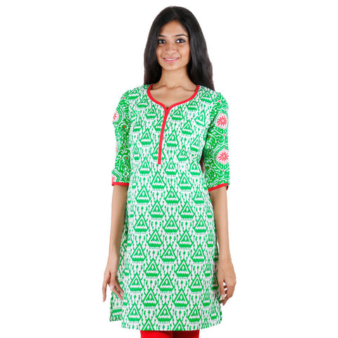 eSTYLe Green Cotton Printed Short Kurti With U Cut Hemline