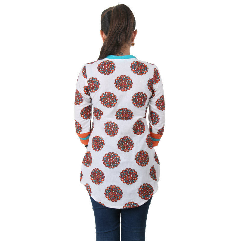 eSTYLe Orange Printed Tunic With Lace Work