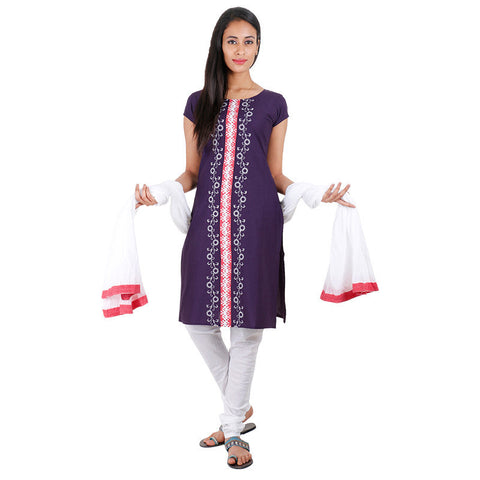 3Pce Suit - Patriot Blue Cotton Embroidered Kurta With Chudi and Cotton Dupatta