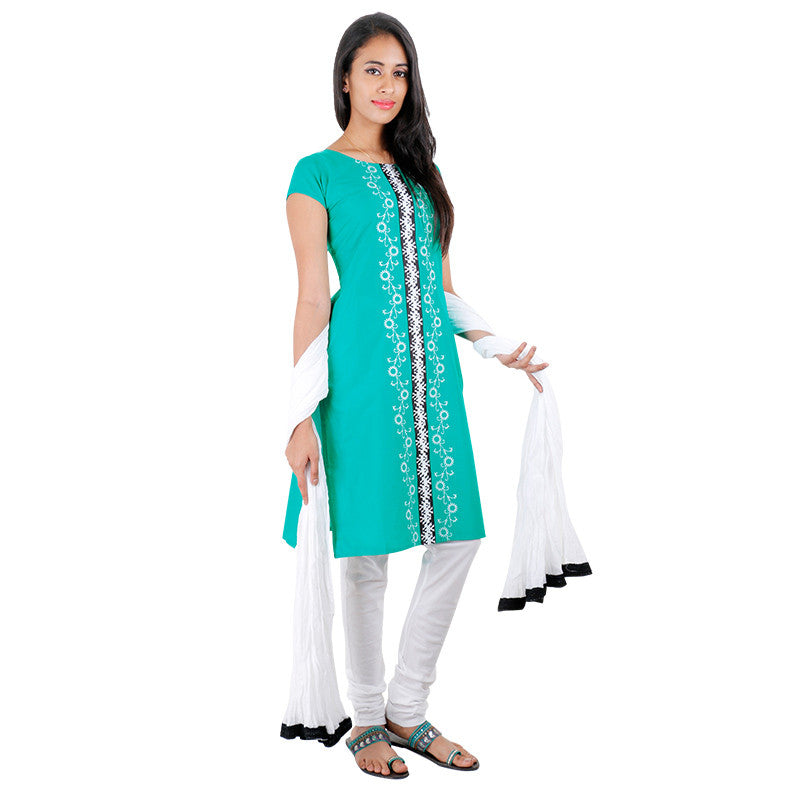 Viridian Green Cotton Embroidered Kurta