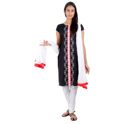 3Pce Suit - Blissful Black Cotton Embroidered Kurta With Chudi and Cotton Dupatta