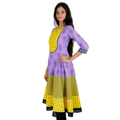 Lavender 'N Yellow Anarkali Kurta With Wide Flare From eSTYLe