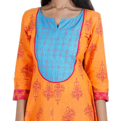 Orange 'N Blue Printed Cotton Anarkali With Wide Flare