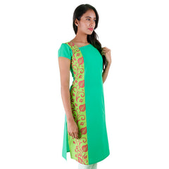 Casual Cotton Green Kurta With Side Prints From eSTYLe