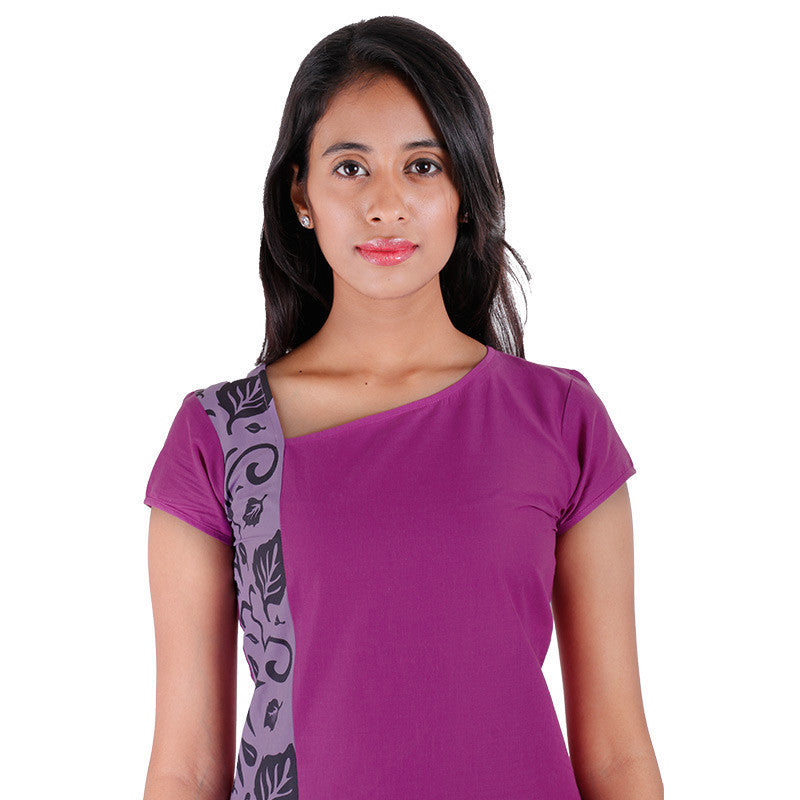 eSTYLe Purple Casual Cotton Kurta With Side Prints