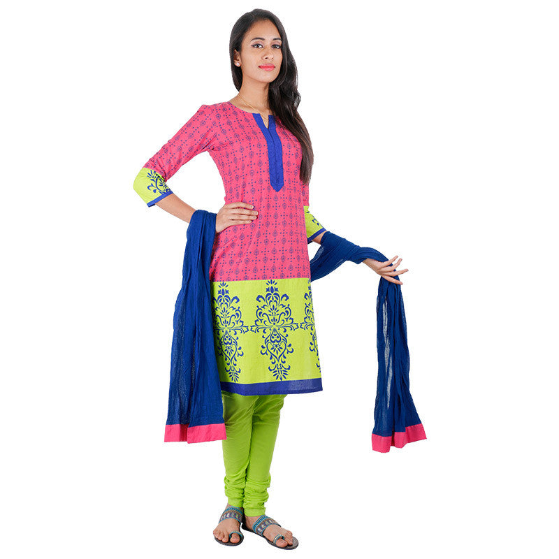 3Pce Suit - Fandango Pink Cotton Printed Kurta With, Chudi and Cotton Dupatta