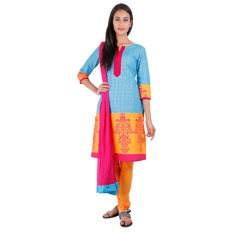 3Pce Suit - Blue Atoll Cotton Printed Kurta With, Chudi and Cotton Dupatta