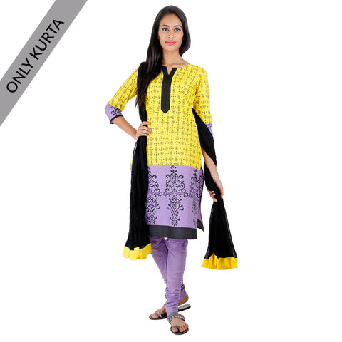 Empire Yellow Cotton Printed Kurta