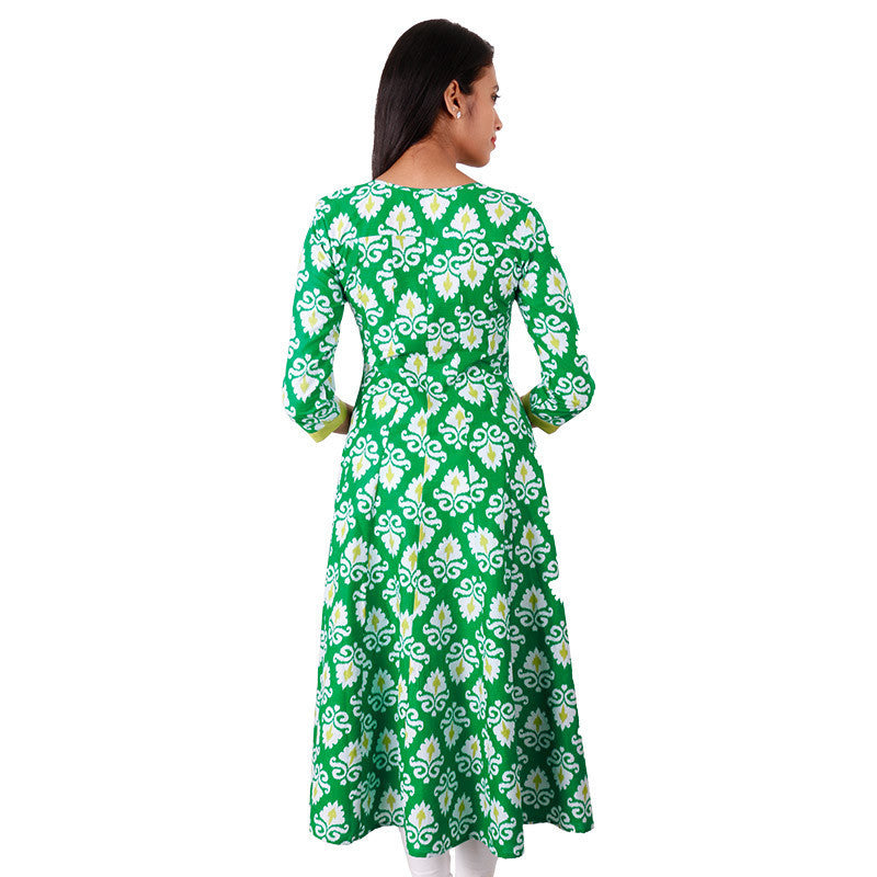 Vibrant Green Cotton Anarkali Kurta Mirror Yoke From eSTYLe