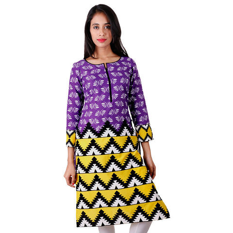 Vibrant Violet Printed Cotton Kurta From eSTYLe