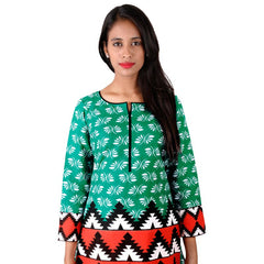 Tropical Green Printed Cotton Kurta From eSTYLe