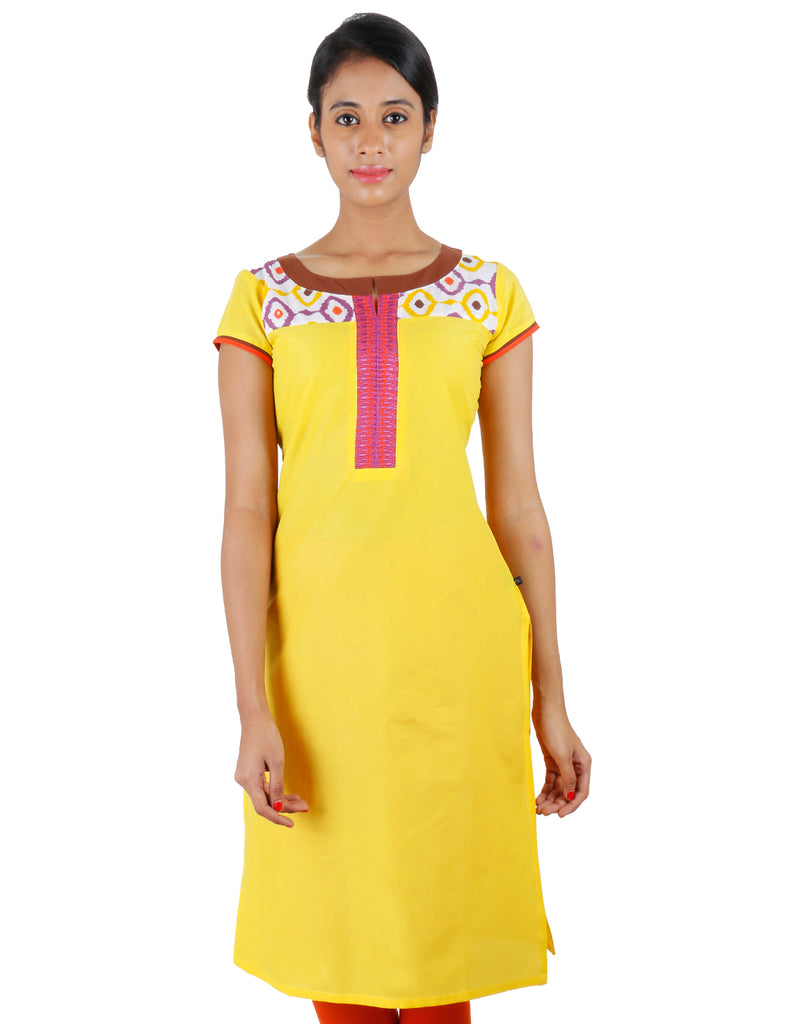 Beautiful Yellow Cotton Kurta From eSTYLe With Embroidered Yoke