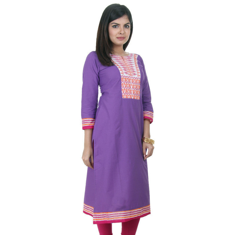 eSTYLe Casual Cotton Iris Orchid Kurta With Embroidered Yoke