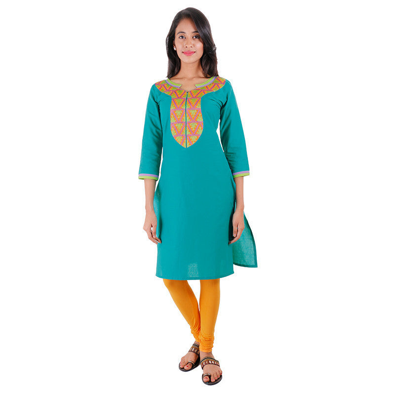 eSTYLe Deep Peacock Green Cotton Kurta With Embroidered Yoke