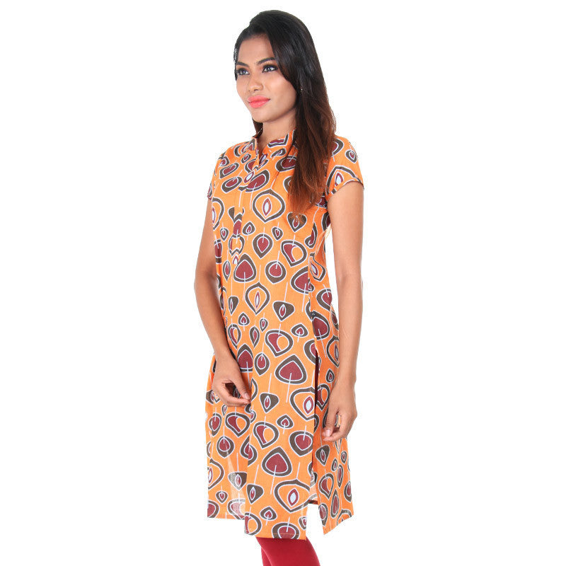 Autumn Sunset Beautiful Petal Prints Cotton Kurta From eSTYLe